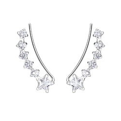 Wholesale Sterling Silver Curved Line Cubic Zirconia Ear Climbers - JD7455