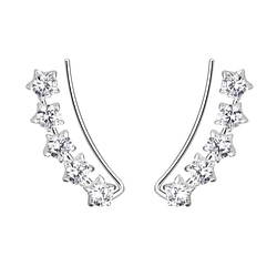 Wholesale Sterling Silver Star Cubic Zirconia Ear Climbers - JD7439