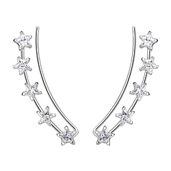 Wholesale Sterling Silver Star Cubic Zirconia Ear Climbers - JD7454