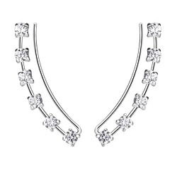 Wholesale Sterling Silver Curved Line Cubic Zirconia Ear Climbers - JD7453