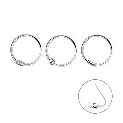 Wholesale 10mm Sterling Silver Nose Ring Set - 3 Pack - JD7492