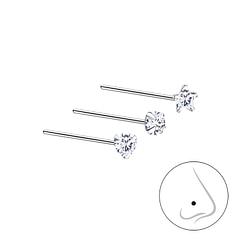 Wholesale 3mm Cubic Zirconia Sterling Silver Nose Stud Set - 3 Pack - JD7496