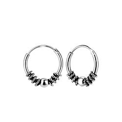 Wholesale 12mm Sterling Silver Bali Ear Hoops - JD7761