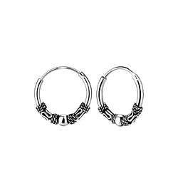 Wholesale 12mm Sterling Silver Bali Ear Hoops - JD7760
