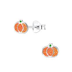 Wholesale Sterling Silver Pumpkin Ear Studs - JD7617