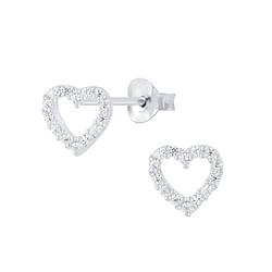 Wholesale Sterling Silver Heart Ear Studs - JD7781