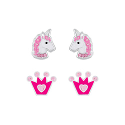 Wholesale Sterling Silver Unicorn and Crown Ear Studs Set - JD7643