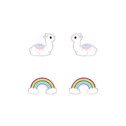 Wholesale Sterling Silver Llama and Rainbow Ear Studs Set - JD7651
