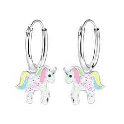 Wholesale Sterling Silver Unicorn Charm Ear Hoops - JD8268