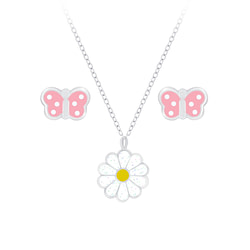 Wholesale Sterling Silver Butterfly Necklace and Daisy Ear Studs Set - JD7662