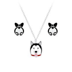 Wholesale Sterling Silver Dog Necklace and Ear Studs Set - JD7664