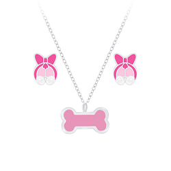 Wholesale Sterling Silver Dog Necklace and Ear Studs Set - JD7665