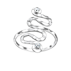 Wholesale Sterling Silver Spiral Crystal Ring - JD7616