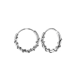 Wholesale 12mm Sterling Silver Bali Ear Hoops - JD7799