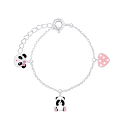 Wholesale Sterling Silver Panda Lovers Bracelet - JD7929