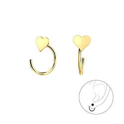 Wholesale Sterling Silver Heart Ear Huggers - JD7851
