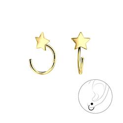 Wholesale Sterling Silver Star Ear Huggers - JD7853