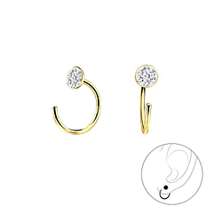 Wholesale Sterling Silver Round Crystal Ear Huggers - JD7896