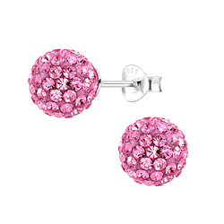 Wholesale 8mm Crystal Ball Sterling Silver Ear Studs - JD6243