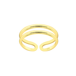 Wholesale Sterling Silver Double Line Adjustable Toe Ring - JD7840