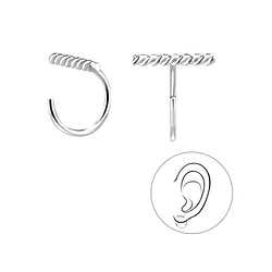 Wholesale Sterling Silver Twisted Bar Ear Huggers - JD8197