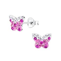 Wholesale Sterling Silver Butterfly Crystal Ear Studs - JD7970