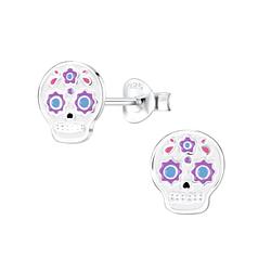 Wholesale Sterling Silver Skull Ear Studs - JD8245