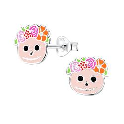 Wholesale Sterling Silver Skull Ear Studs - JD8250