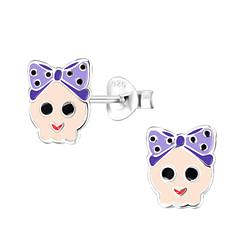 Wholesale Sterling Silver Skull Ear Studs - JD8252