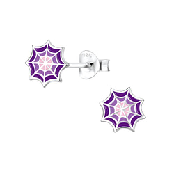 Wholesale Sterling Silver Spider Web Ear Studs - JD8296