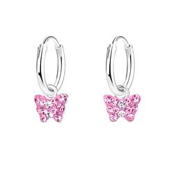 Wholesale Sterling Silver Butterfly Charm Ear Hoops - JD7965