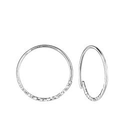 Wholesale 18mm Sterling Silver Patterned Ear Hoops - JD8195