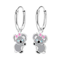 Wholesale Sterling Silver Koala Charm Ear Hoops - JD8267