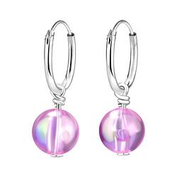 Wholesale Sterling Silver Handmade Bead Ear Hoops - JD8221