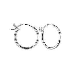 Wholesale 14mm Sterling Silver French Lock Ear Hoops - JD7978