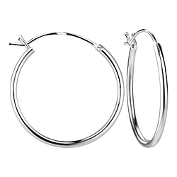 Wholesale 25mm Sterling Silver French Lock Ear Hoops - JD8275