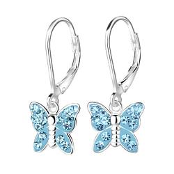 Wholesale Sterling Silver Butterfly Crystal Lever Back Earrings - JD8164