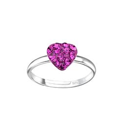 Wholesale Sterling Silver Heart Adjustable Ring - JD7971