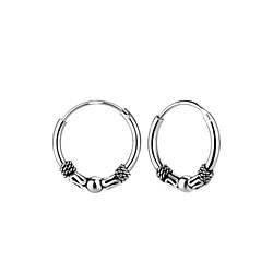 Wholesale 12mm Sterling Silver Bali Ear Hoops - JD8302
