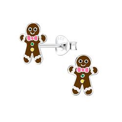 Wholesale Sterling Silver Gingerbread Ear Studs - JD8427