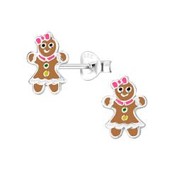 Wholesale Sterling Silver Gingerbread Ear Studs - JD8428