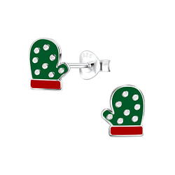 Wholesale Sterling Silver Christmas Glove Ear Studs - JD8432