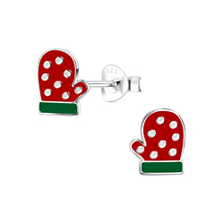 Wholesale Sterling Silver Christmas Glove Ear Studs - JD8430