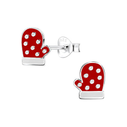 Wholesale Sterling Silver Christmas Glove Ear Studs - JD8431