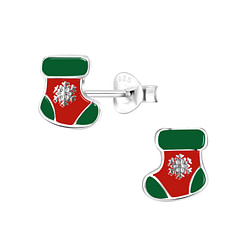 Wholesale Sterling Silver Christmas Stocking Ear Studs - JD8435
