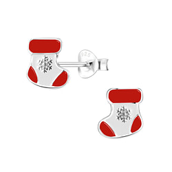 Wholesale Sterling Silver Christmas Stocking Ear Studs - JD8433