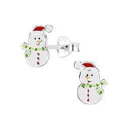 Wholesale Sterling Silver Snowman Ear Studs - JD8445