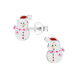 Wholesale Sterling Silver Snowman Ear Studs - JD8444