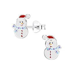 Wholesale Sterling Silver Snowman Ear Studs - JD8443