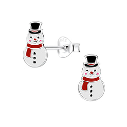 Wholesale Sterling Silver Snowman Ear Studs - JD8446